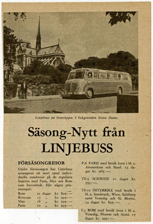 """Annons: """"Säsongnytt från Linjebuss."""""""