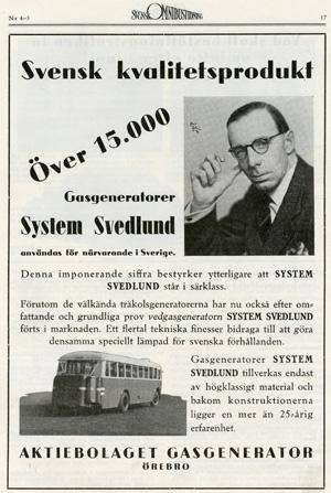 Reklam för gengasgenerator publicerad i Svensk Omnibustidning nr 4-5, år 1943